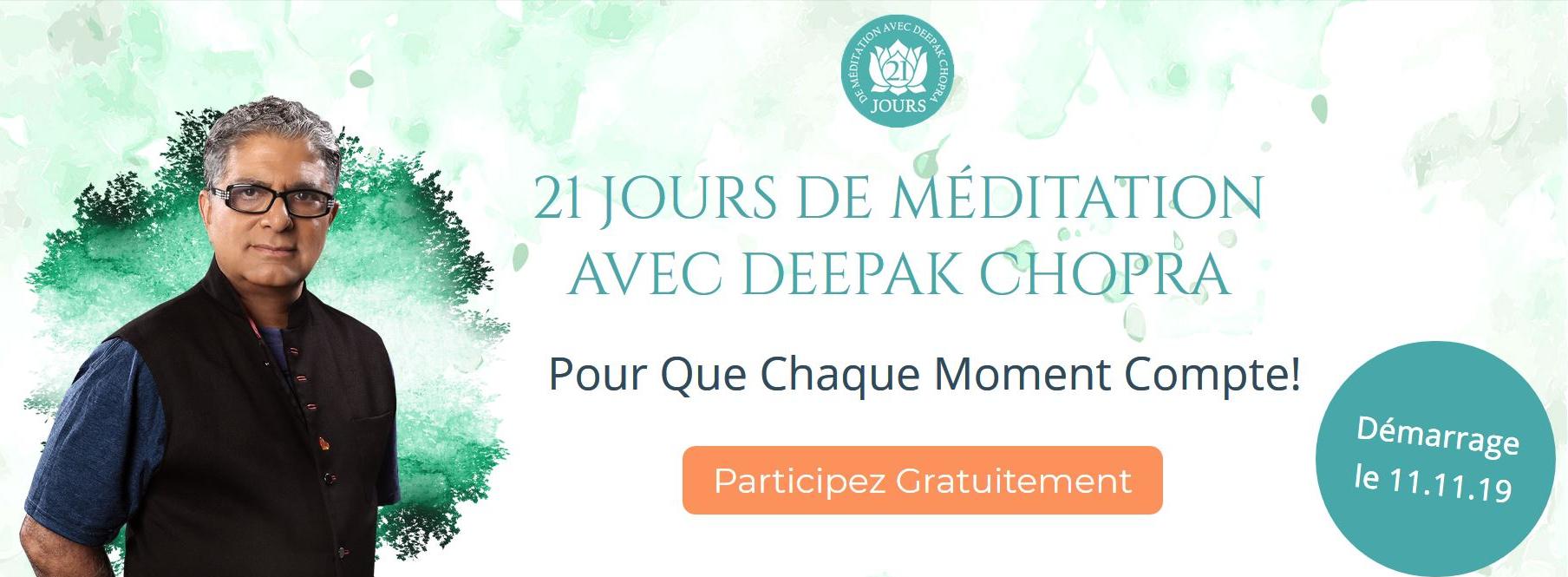 21 jours de méditation avec Deepak Chopra - Pour que chaque moment compte - quantum-coaching.com